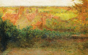 Picture landscape, home, picture, Henry Le Sedane Products, Henri Le Sidane, Terrace. Sun. Of gerberoy is
