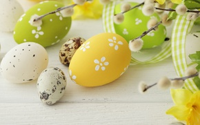Wallpaper colorful, Easter, Verba, spring, eggs, Happy Easter, Easter eggs