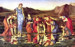 Picture girls, mirror, puddle, Edward, 1875, Sir Edward Burne-Jones, The_Mirror_of_Venus