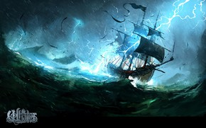 Picture wave, storm, zipper, ship, The Whaler, Natures Wrath