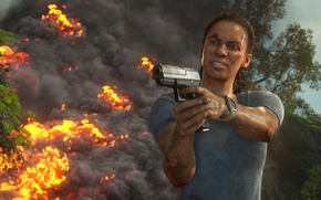 Picture fire, flame, gun, pistol, game, weapon, Uncharted, spark, Uncharted: The Lost Legacy