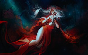 Wallpaper girl, fantasy, red dress, by exellero