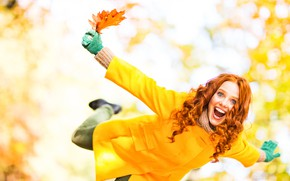 Wallpaper autumn, leaves, girl, joy, happiness, emotions, yellow, scarf, hairstyle, gloves, red, coat, bokeh