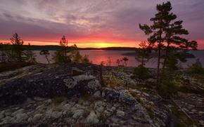 Picture dawn, Lake Ladoga, Karelia