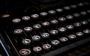 Picture button, background, typewriter