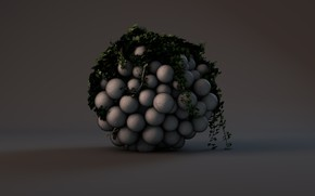 Picture balls, shadow, render, ivy