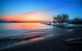 Picture sunset, nature, shore, flat land