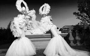 Picture pose, style, dress, black and white, sculpture, two girls, model, monochrome, headdress, Alexander Lisinski, Slinky-Aleksandr