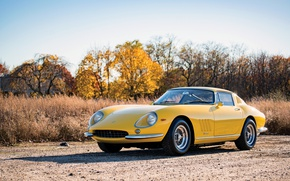 Wallpaper Car, GTB, Retro, Yellow, Metallic, Ferrari, 275, 1965-66, Steel
