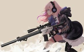 Wallpaper game, anime, sniper, ammunition, Girls Frontline, assault rifle, oriental, asiatic, gun, weapon, asian, pretty, seifuku, ...