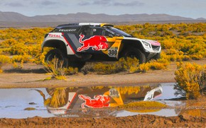 Picture Reflection, Sport, Speed, Race, Puddle, Peugeot, Lights, Red Bull, 300, Rally, Dakar, Dakar, Rally, Sport, …