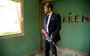 Picture cinema, Jake Gyllenhaal, saw, movie, film, suit, tie, goggles, refurbishment, Demolition, electric saw