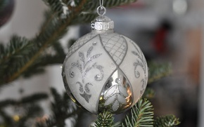 Picture toy, tree, new year, silver