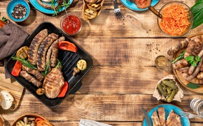 Picture meat, BBQ, vegetables, wood, meat, grill, grilled