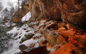Picture winter, snow, trees, rock, USA, Ohio, Vinton