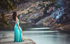 Picture girl, lake, dress, Daria, Anton Harisov