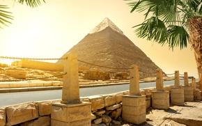 Wallpaper road, pyramid, Egypt, Cairo, stones, palm trees, the sun