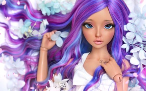 Picture girl, flowers, hair, doll