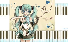 Picture headphones, keys, tie, hearts, gloves, vocaloid, Hatsune Miku, Vocaloid, blue hair, art, red thread, white …