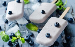 Picture ice, blueberries, ice cream, mint, dessert, wood