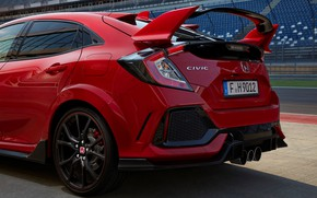 Picture red, track, Honda, tribune, wing, feed, 2017, pipes, Civic Type R, aerodynamic elements, diffuser, three-way …