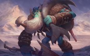 Picture fantasy, art, Orc, Jourdan Tuffan, Esbatuan Frost Giant