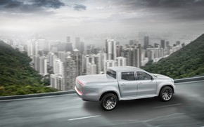 Picture road, white, the sky, mountains, the city, movement, vegetation, Mercedes-Benz, pickup, X-Class Concept