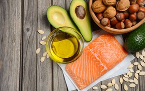 Picture oil, nuts, avocado, salmon