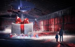 Wallpaper boy, elf, rink, new year, male, tree, santa claus, Christmas, winter, gift, art, holiday