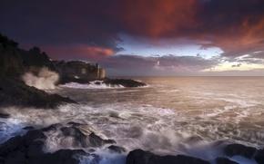 Picture storm, Italy, sunset, Liguria, Tellaro