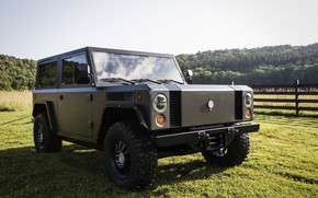 Picture forest, the sky, grass, hills, the fence, SUV, electric, Bollinger, B1 Electric Truck