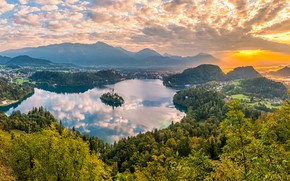 Picture lake, island, beauty, morning