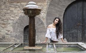 Picture face, model, hair, brunette, fountain, Joanna