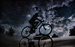 Wallpaper the sky, clouds, night, reflection, puddle, cyclist