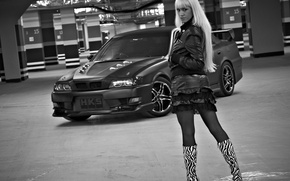 Picture look, Girls, blonde, Parking, beautiful girl, black and white photo, Toyota Chaser, dark cars