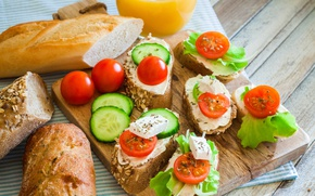 Picture food, bread, cucumbers, sandwiches, tomatoes-cherry