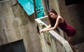 Picture face, model, hair, dress, balcony, legs