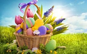 Wallpaper holiday, eggs, Easter, tulips, basket, bow, eggs, sunlight