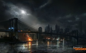 Wallpaper art, the city, bridge, new York, Tom clancy's the division