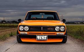 Picture Auto, Machine, Orange, Nissan, Nissan, Lights, Car, 2000, Room, Skyline, Nissan Skyline, 1972, The front, ...