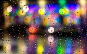 Picture light, night, the city, lights, rain, bokeh bokeh