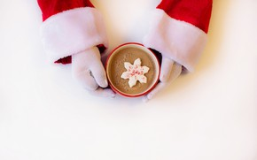 Picture holiday, coffee, Christmas, Cup, Santa