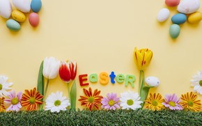 Picture flowers, background, holiday, eggs, Easter, tulips