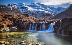 Picture trees, landscape, mountains, nature, waterfall, beauty