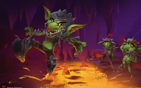 Picture fantasy, art, lava, cave, Goblin, Goblins, according to samson