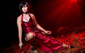 Wallpaper game, red, Resident Evil 4, chines, red dress, dress, Umbrella Corp, oriental, brunette, spy, asiatic, ...