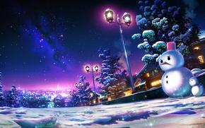 Picture winter, the sky, snow, trees, night, the city, snowmen, by monorisu