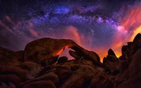 Wallpaper stones, stars, rocks, the sky, clouds, the milky way, night, light