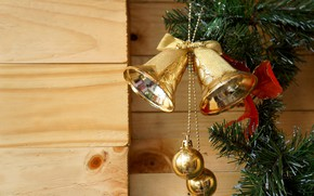 Picture balls, branches, Board, Christmas, New year, decoration, bells, bells