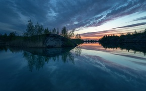 Picture lake, dawn, morning, Tula oblast